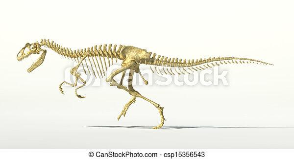 Allosaurus dinosaur photo-realistic skeleton. - csp15356543