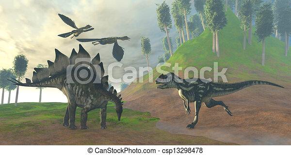 Allosaurus Hunt - csp13298478