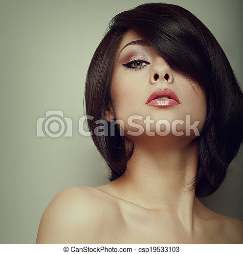 Stock photography of alluring beautiful female model looking alluring beautiful female model looking black short hair style vintage csp19533103 urmus Choice Image