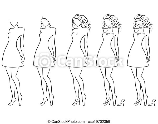 Alluring Women Contour In Hand Drawing Sequence Alluring Young