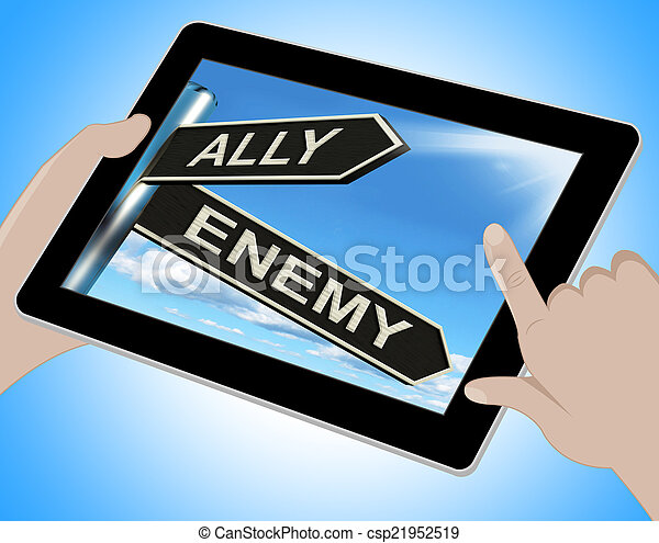 Ally Enemy Tablet Shows Friend Or Adversary - csp21952519