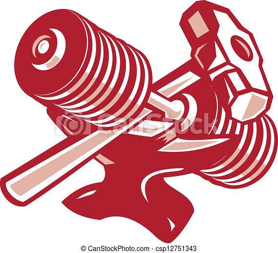 Un yunque Dumbbell y un martillo retro - csp12751343