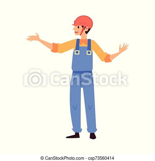 almacén, el gesticular, mano, azul, caricatura, el suyo, trabajador, uniforme - csp73560414