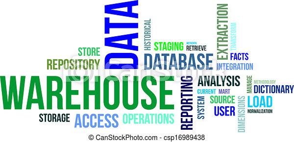 almacén, palabra, -, nube, datos - csp16989438