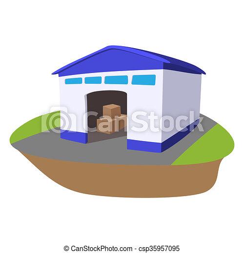 Almacén con ícono de caricatura abierto - csp35957095