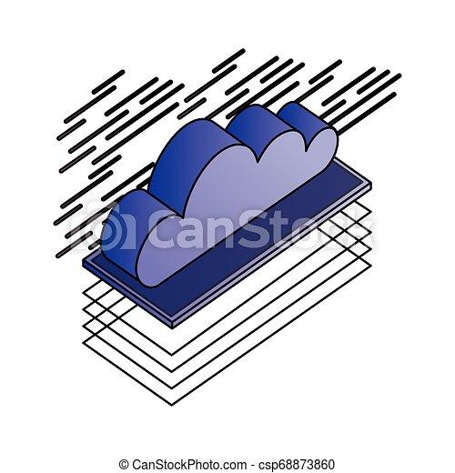 Nube calculando datos isometricos de almacenamiento - csp68873860