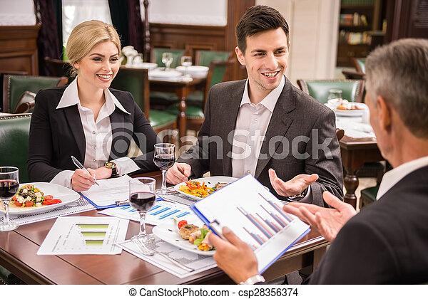 almoço, negócio - csp28356374