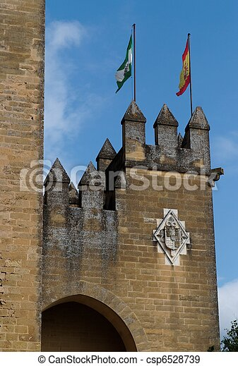 Almodovar Del Rio Medieval Castle With Flags Of Spain And Andalusia