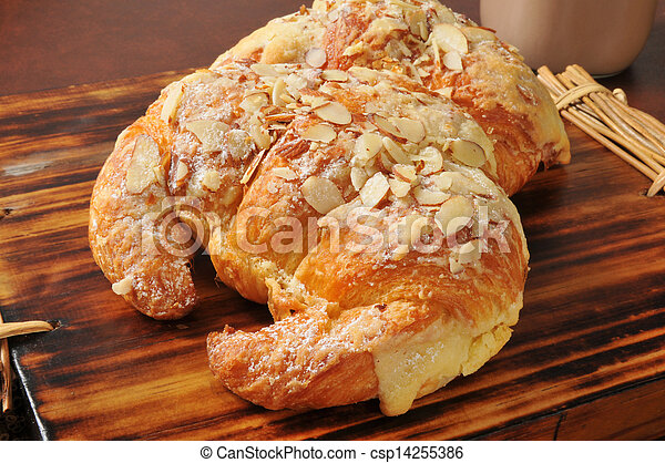 Almond croissants with custard filling - csp14255386