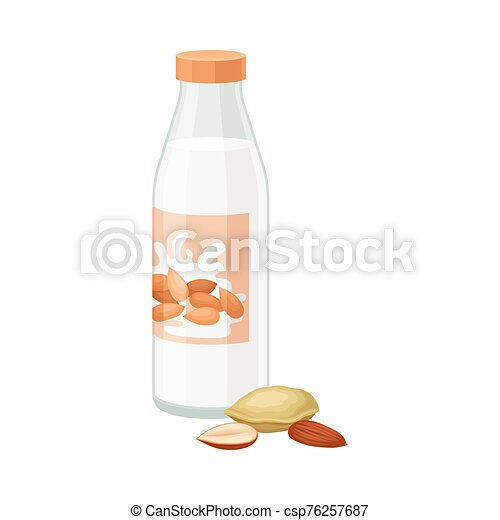 Almond Milk in Bottle with Nuts Lying Beside it Vector Illustration - csp76257687