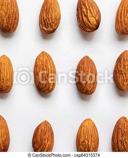 Almond on white background. - csp64315374