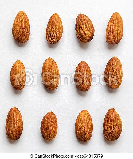 Almond on white background. - csp64315379