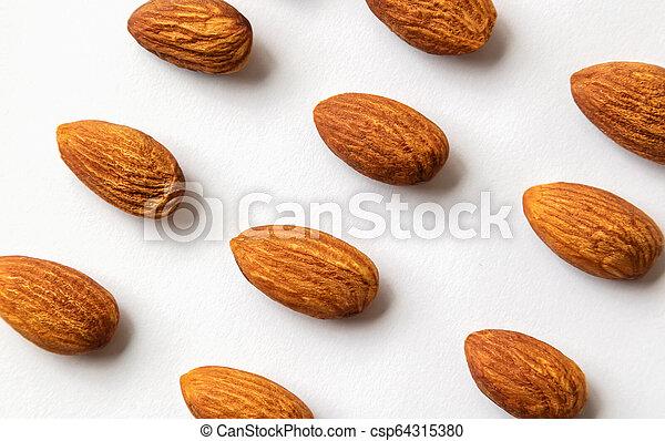 Almond on white background. - csp64315380