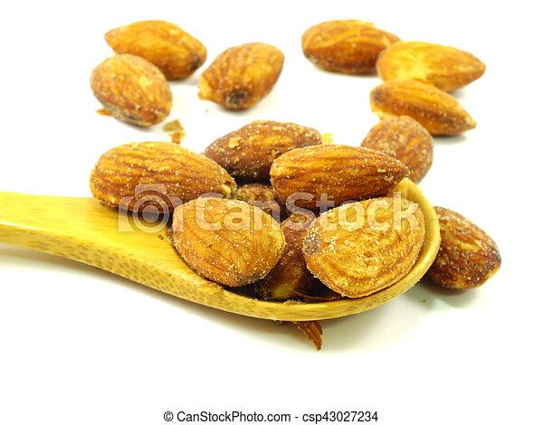almond on white background - csp43027234