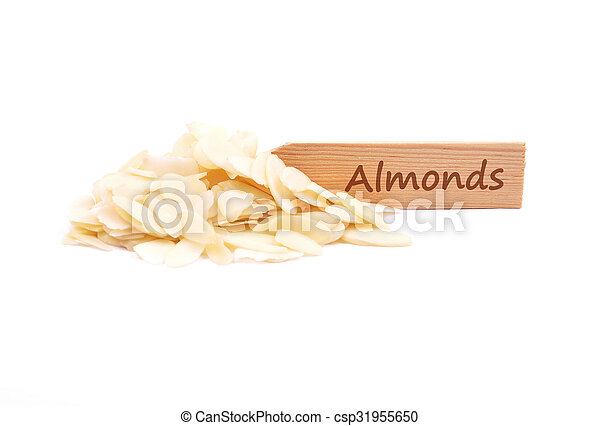 Almond slices on plate - csp31955650