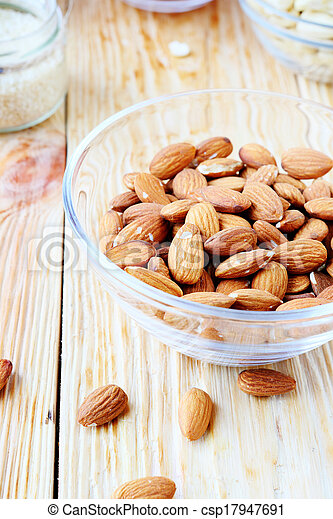 almonds in a bowl - csp17947691