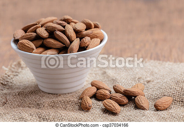 almonds in the bowl close-up - csp37034166