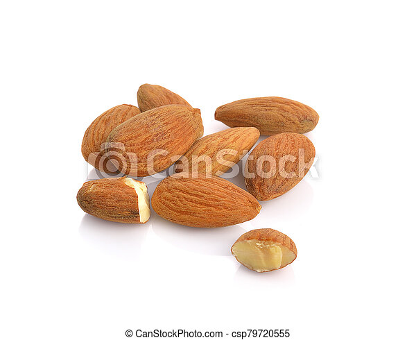 almonds isolated on the white background - csp79720555