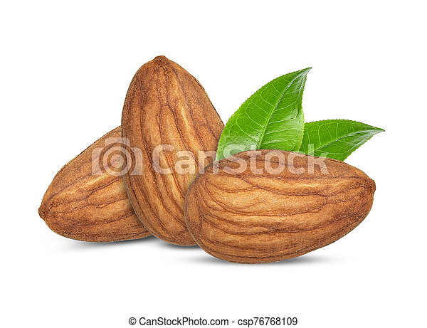 Almonds isolated on white background - csp76768109