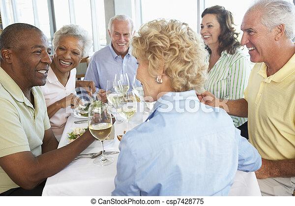 almuerzo, amigos, teniendo, juntos, restaurante - csp7428775