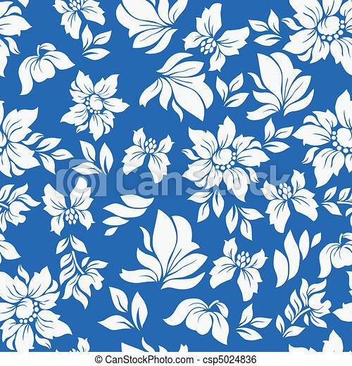 Aloha Flower Pattern Blue - csp5024836