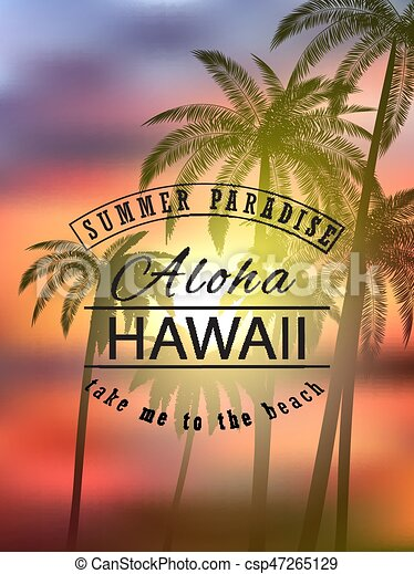 Aloha Hawaii Summer Tropical Background With Palms Sky And Sunset Vector Illustration Eps 10