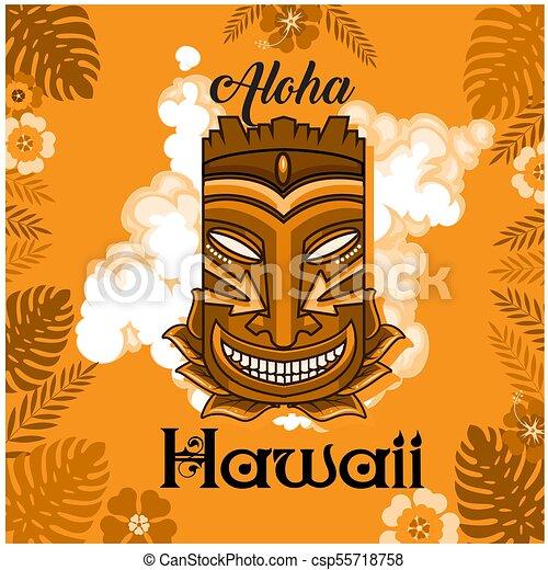 aloha hawaii tiki mask leaves orange background vector image