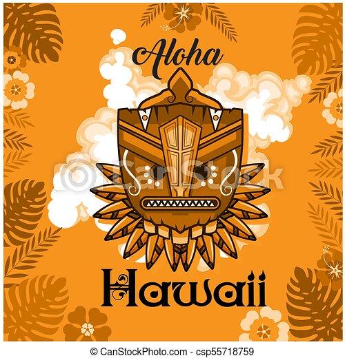 Aloha Hawaii Tribal Mask Leaves Orange Background Vector Image