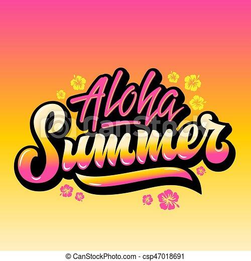 Aloha summer abstract vector hand lettering greeting gard ...