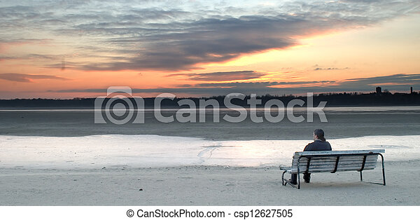 Alone on the beach - csp12627505