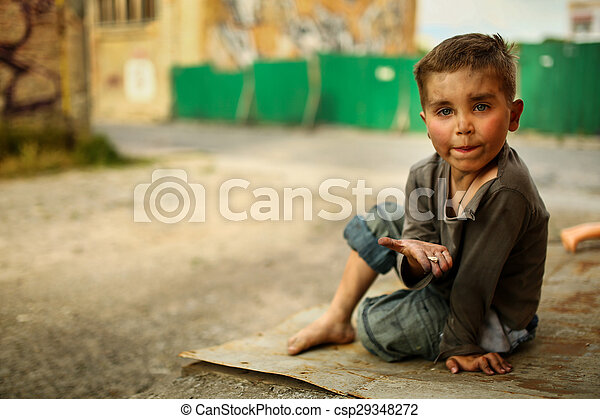 alone sad child on a street - csp29348272