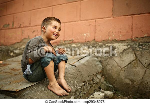 alone sad child on a street - csp29348275