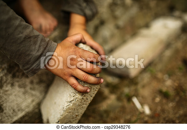 alone sad child on a street - csp29348276
