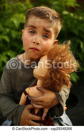 alone sad child on a street - csp29348266