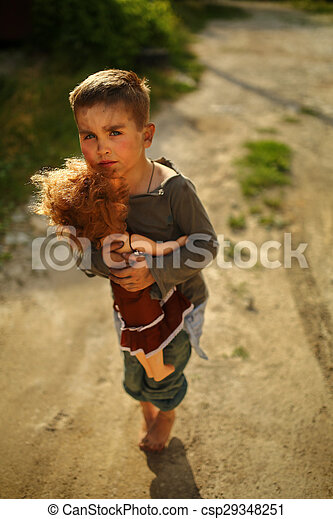 alone sad child on a street - csp29348251