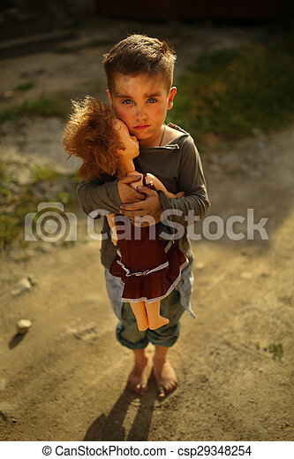 alone sad child on a street - csp29348254