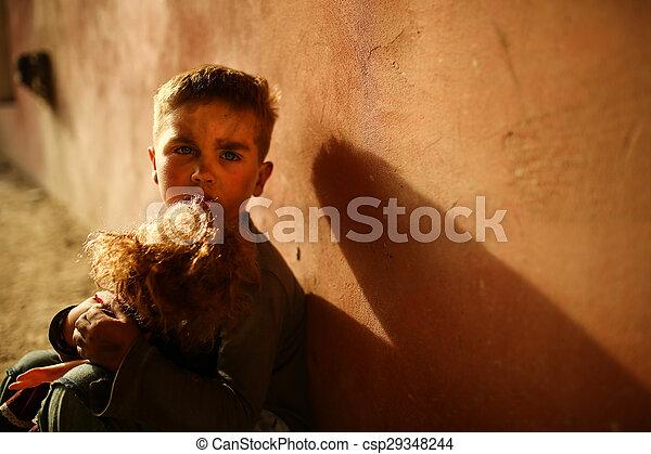 alone sad child on a street - csp29348244