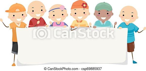 alopécie, stickman, gosses, bannière, illustration - csp69885937
