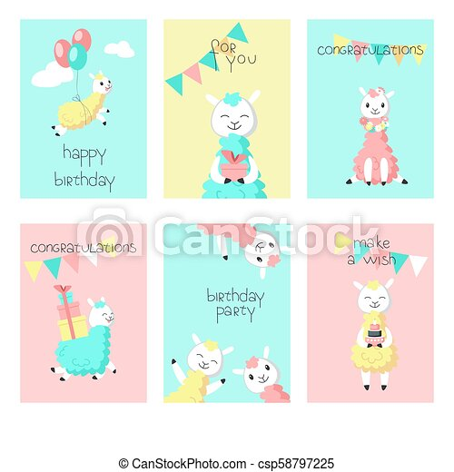 Alpaca Birthday Greeting Cards Vector Illustration Cute Alpaca