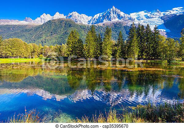 Alpes rbol hoja perenne lago reflejado nieve tapado for Ver fotos de arboles de hoja perenne