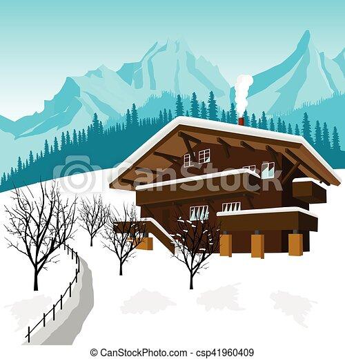 Alpes montagnes chalet traditionnel alpin - Dessin de chalet de montagne ...