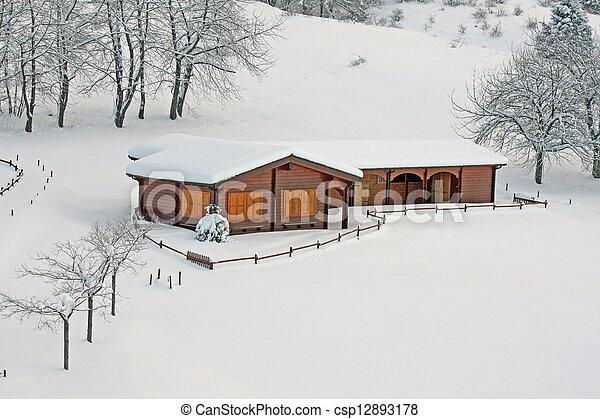 alpes, montanha, chalé, itália, madeira - csp12893178
