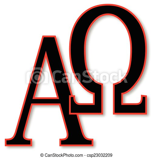 Alpha And Omega The Alpha Omega Symbols Over A White Vector