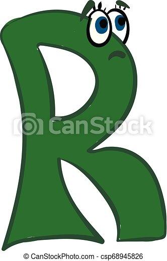 Alphabétique Couleur Illustration Triste Vecteur Vert Lettre R Ou Emoji