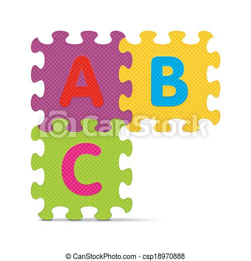 alphabet, écrit, abc, puzzle - csp18970888