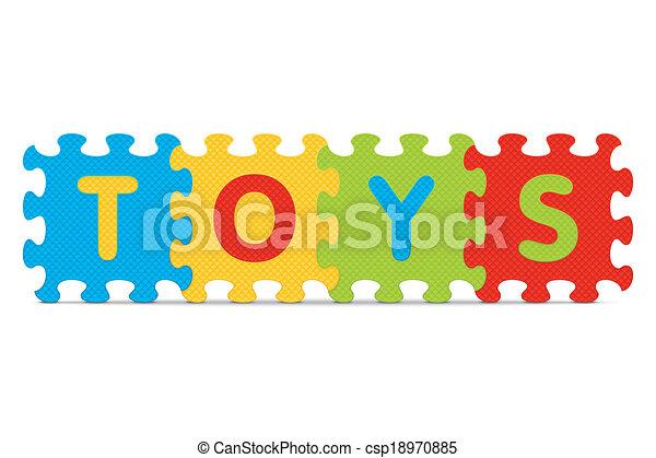 alphabet, écrit, puzzle, jouets - csp18970885