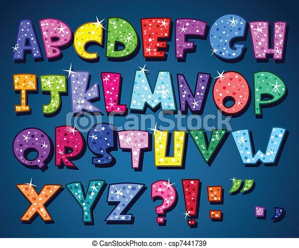 alphabet, étincelant - csp7441739