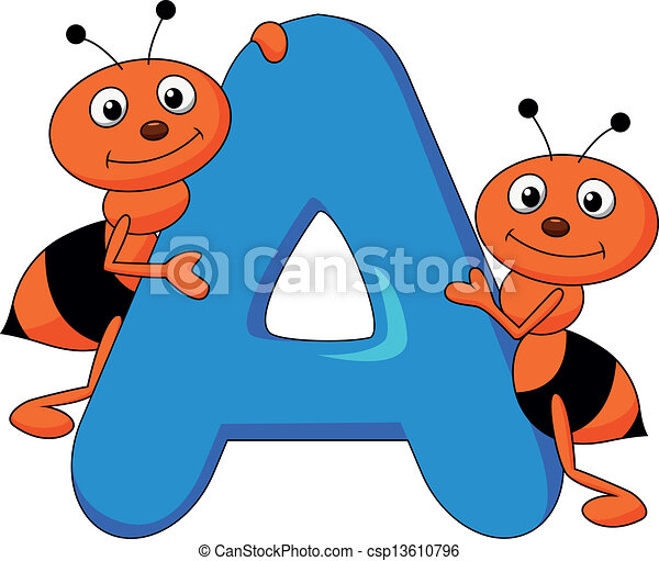 Alphabet A With Ant Cartoon Vector Illustration Of