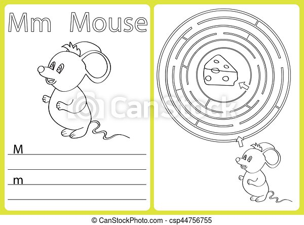 Alphabet A-Z - puzzle Worksheet, Exercises for kids - Coloring book - csp44756755