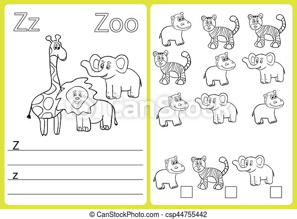 Alphabet A-Z - puzzle Worksheet, Exercises for kids - Coloring book - csp44755442